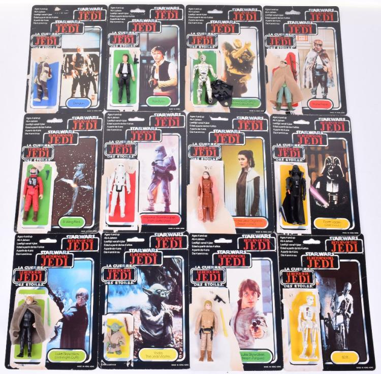 12x Vintage Star Wars Action Figures with Palitoy / General Mills Tri-Logo Card Backs