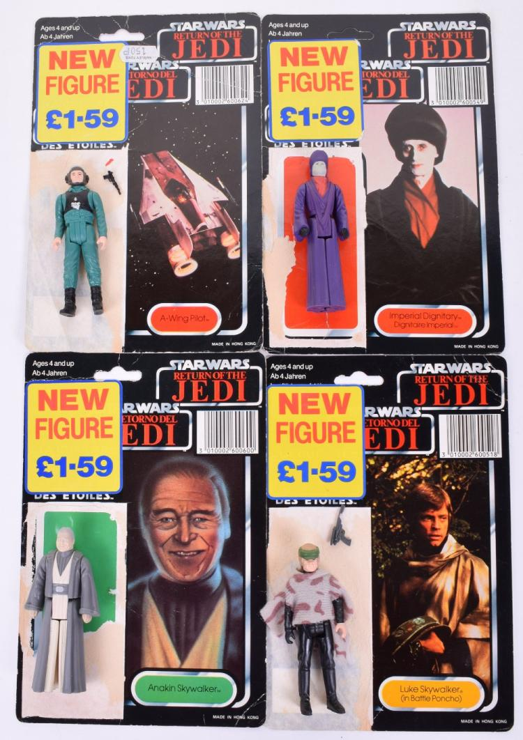 4 x Vintage Star Wars Last 17 Action Figures with Palitoy / General Mills Tri-Logo Card Backs