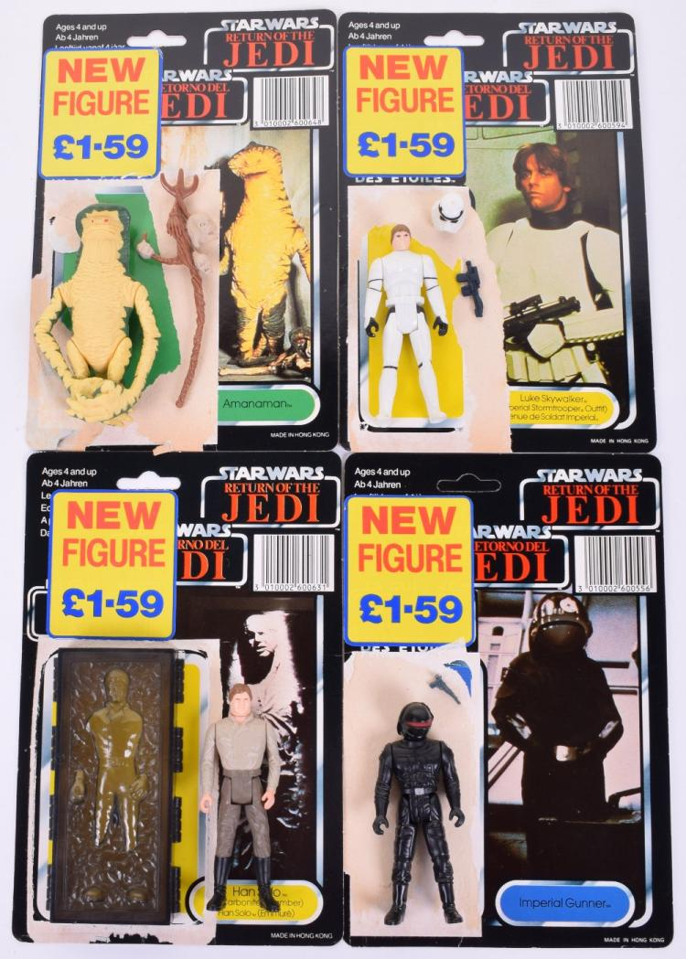 4x Vintage Star Wars Last 17 Action Figures with Palitoy / General Mills Tri-Logo Card Backs