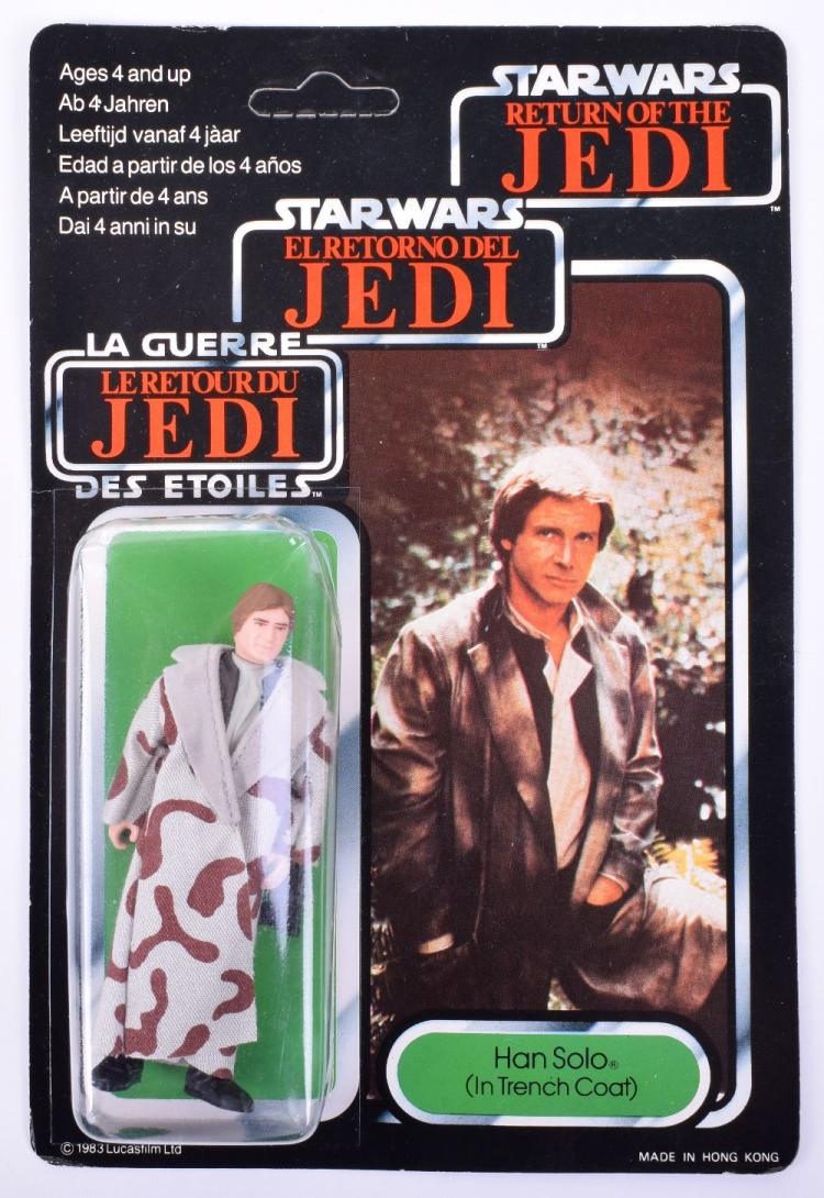 Vintage Star Wars Palitoy / General Mills Tri-Logo Han Solo Trench Coat Carded Action Figure