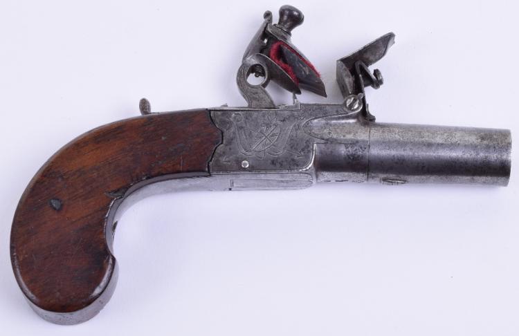 Flintlock Boxlock Pocket Pistol by Carr & Cooper 15cms,
