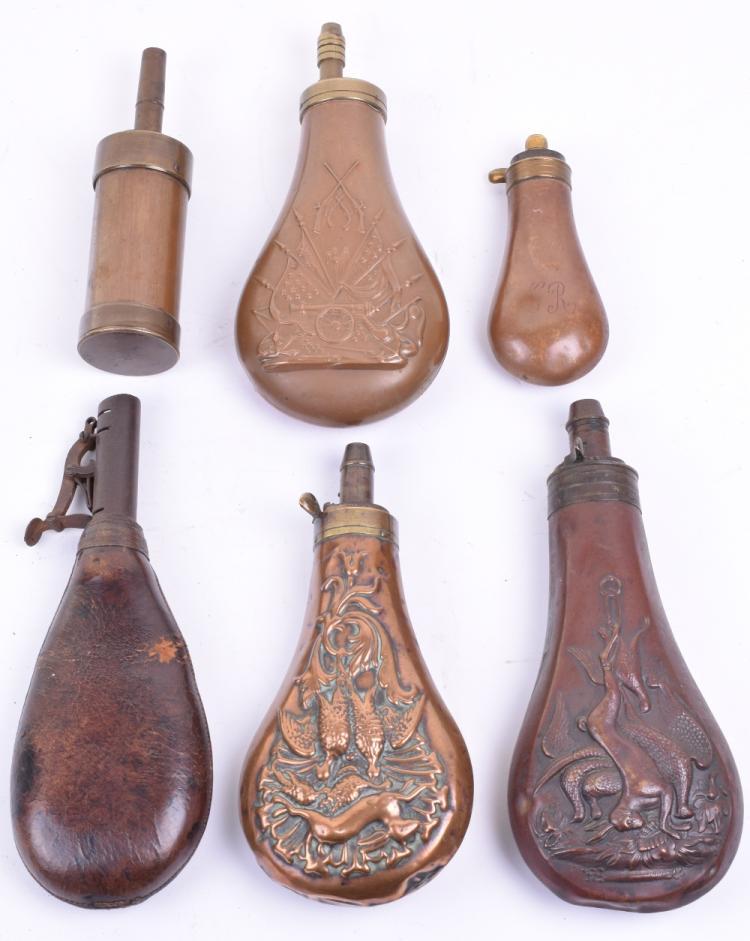 6 Assorted Powder Flasks