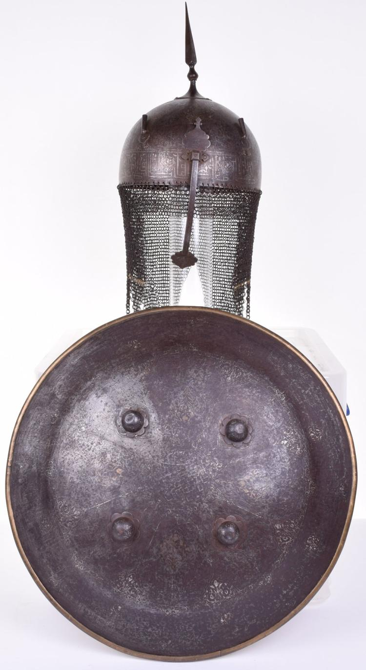 Indo-Persian Matching Helmet Kulah Khud and Shield Dhal