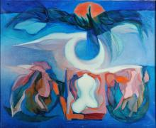"MARCELINO VESPEIRA - 1925-2002, ""Alado aluado"", óleo sobre tela, pequenas faltas na pintura, assinad"