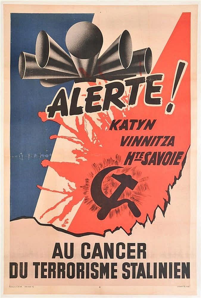 Affiche illustrée en couleurs vers 1943, anti-communiste: