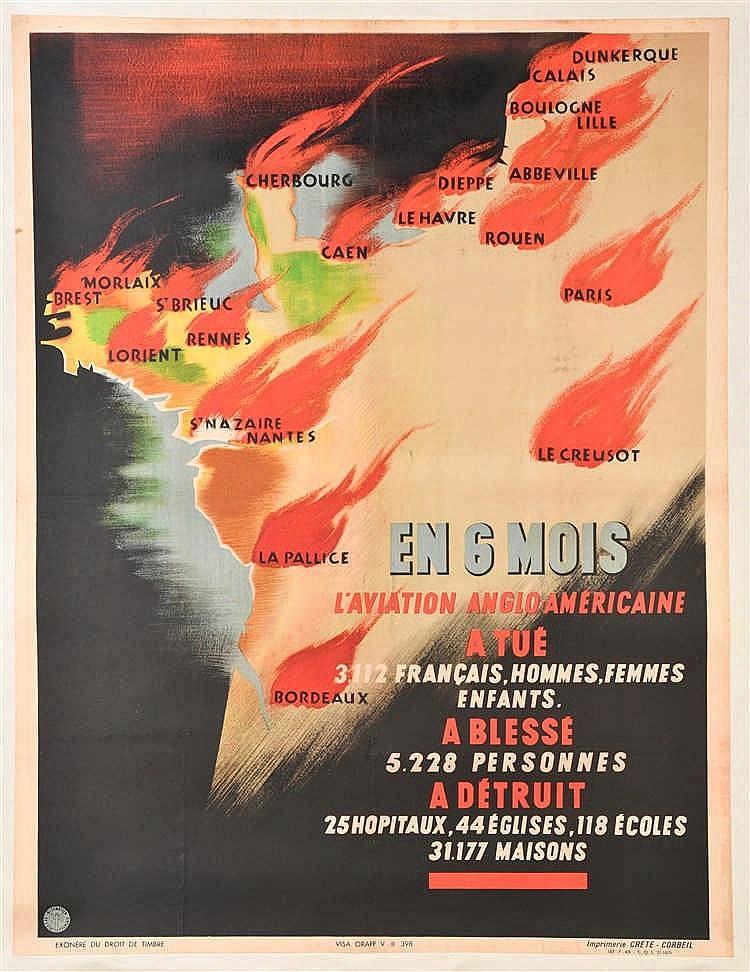 Affiche illustrée en couleurs de 1943, sur les bombardements des villes fra