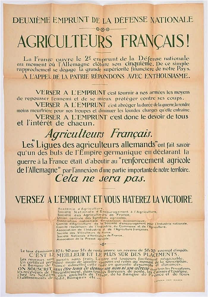 Affiche de la Guerre 1914-1918. Deuxième emprunt de la Défense Nationale. «
