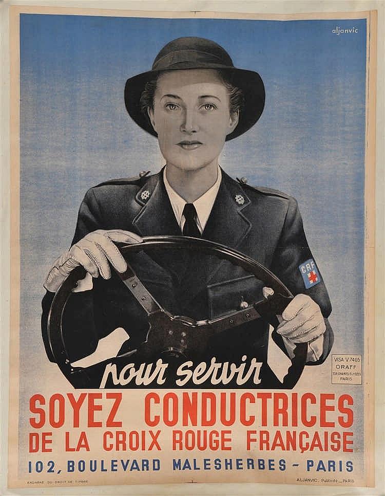 Affiche illustrée en couleurs sans doute vers 1945, émise pour le recruteme