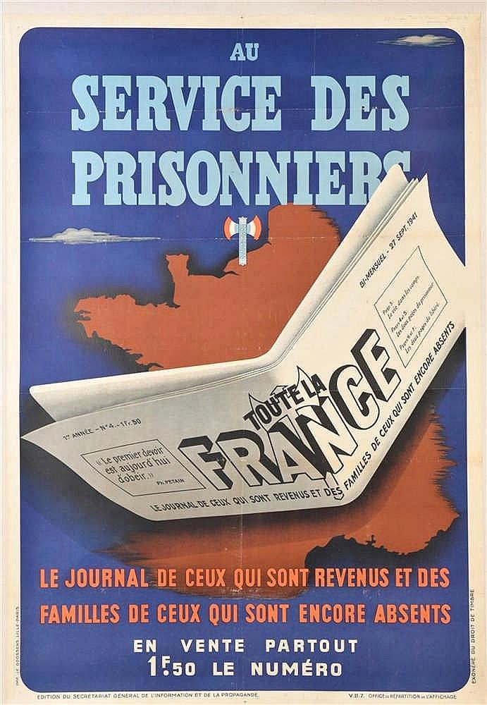 Affiche illustrée en couleurs de 1941 de publicité pourle journal: