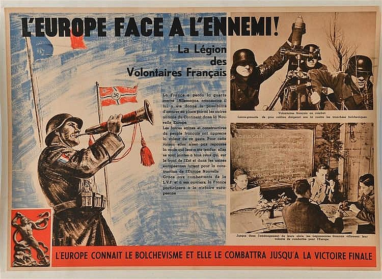 Affiche illustrée en couleurs de la Légion des Volontaires Français, (60x84