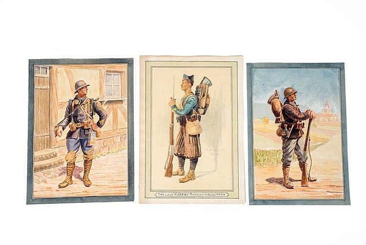 France 1914-1918. Types de militaires. Aquarelles originales: Chasseur, tir