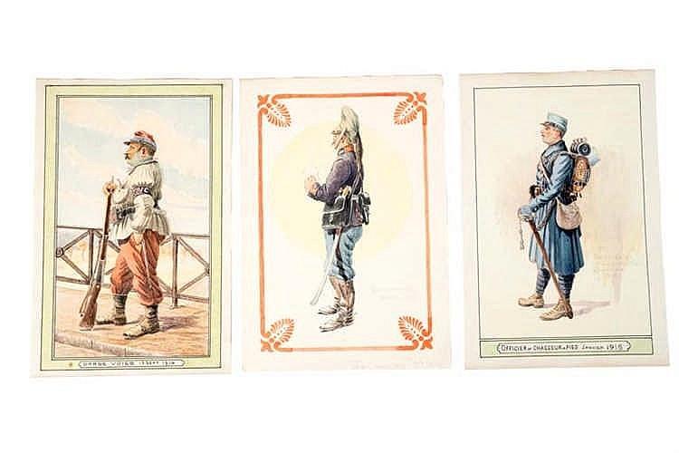 France 1914-1918. Types de militaires. Aquarelles originales: Officier Chas
