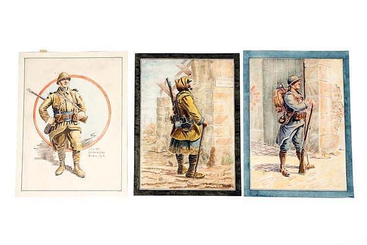 France 1914-1918. Types de militaires. Aquarelles originales: Poilu, Poilu,