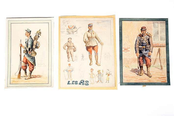 France 1914-1918. Types de militaires. Aquarelles originales: Les As, Bat d