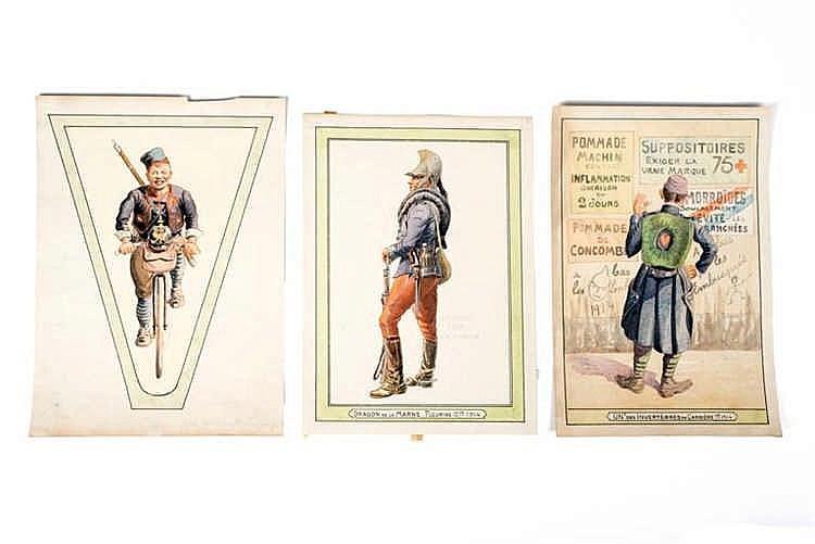 France 1914-1918. Types de militaires. Aquarelles originales: Caricature, D