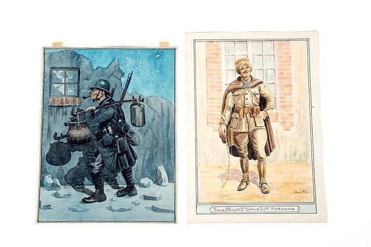 France 1914-1918. Types de militaires. Aquarelles originales: Sous-officier