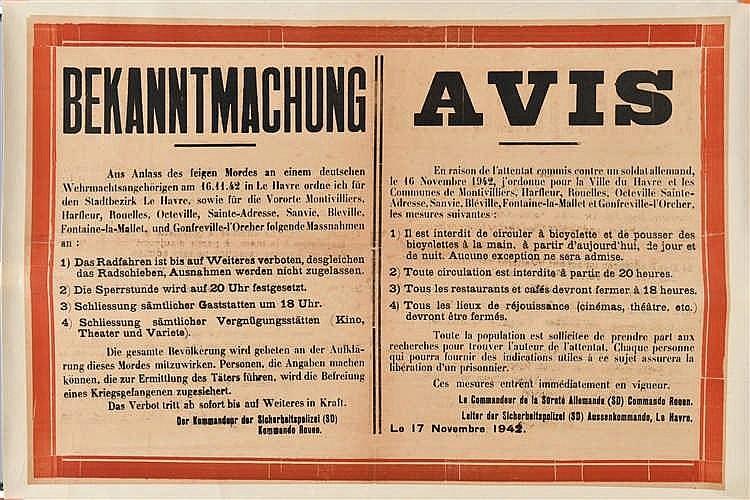 Affiche de textes en couleurs de l'Occupation allemande de 1942:
