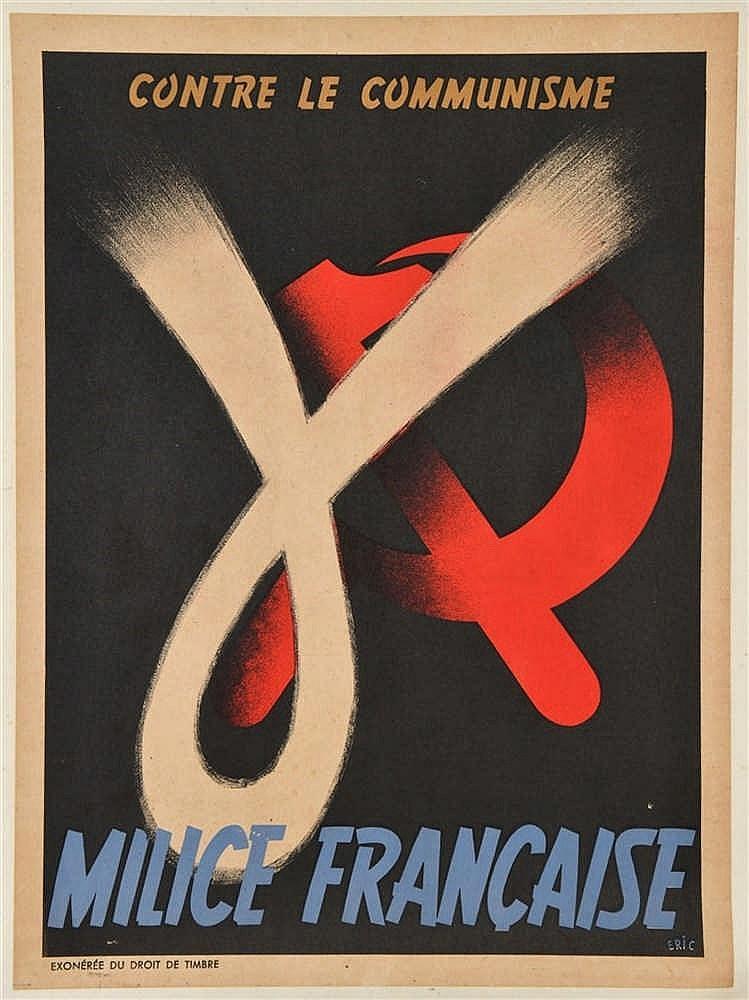 Affichette illustrée en couleurs de 1944 de propagande et recrutement: