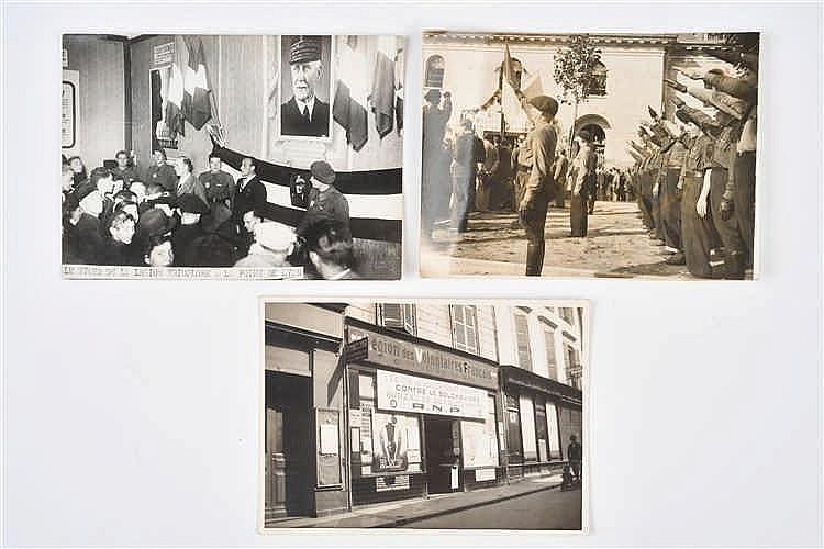 Lot de trois photos d'époque (environ 13x18cm) en noir et blanc dont une da