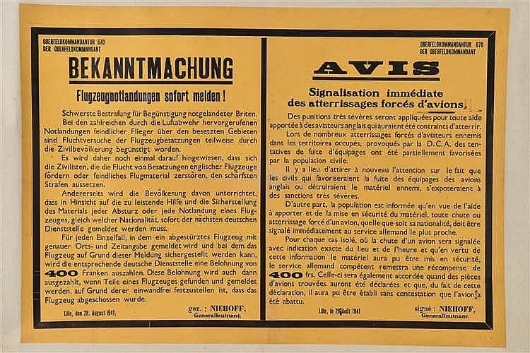 Affiche de textes en couleurs de l'Occupation allemande de 1941: Bekanntmac