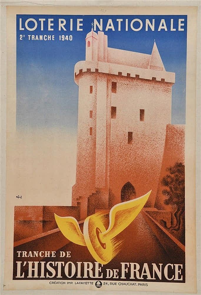 Affiche illustrée en couleurs, année 1940 (2ème tranche de la Loterie Natio