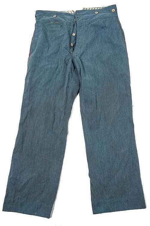Pantalon troupe bleu horizon de l'Artillerie (passepoil écarlate) du type m