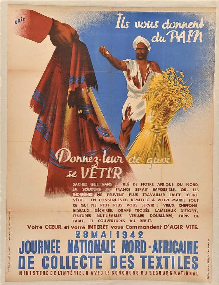 Affiche illustrée en couleurs de 1942 de la Journée Nationale Nord-Africain
