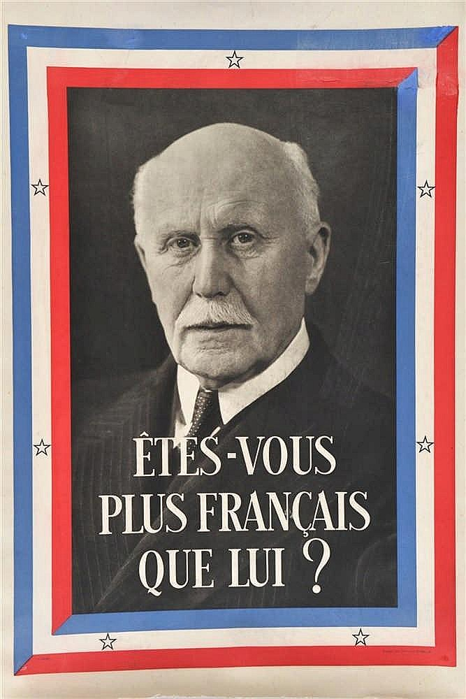 Affiche illustrée en couleurs de l'Etat français montrant la photo du Maréc