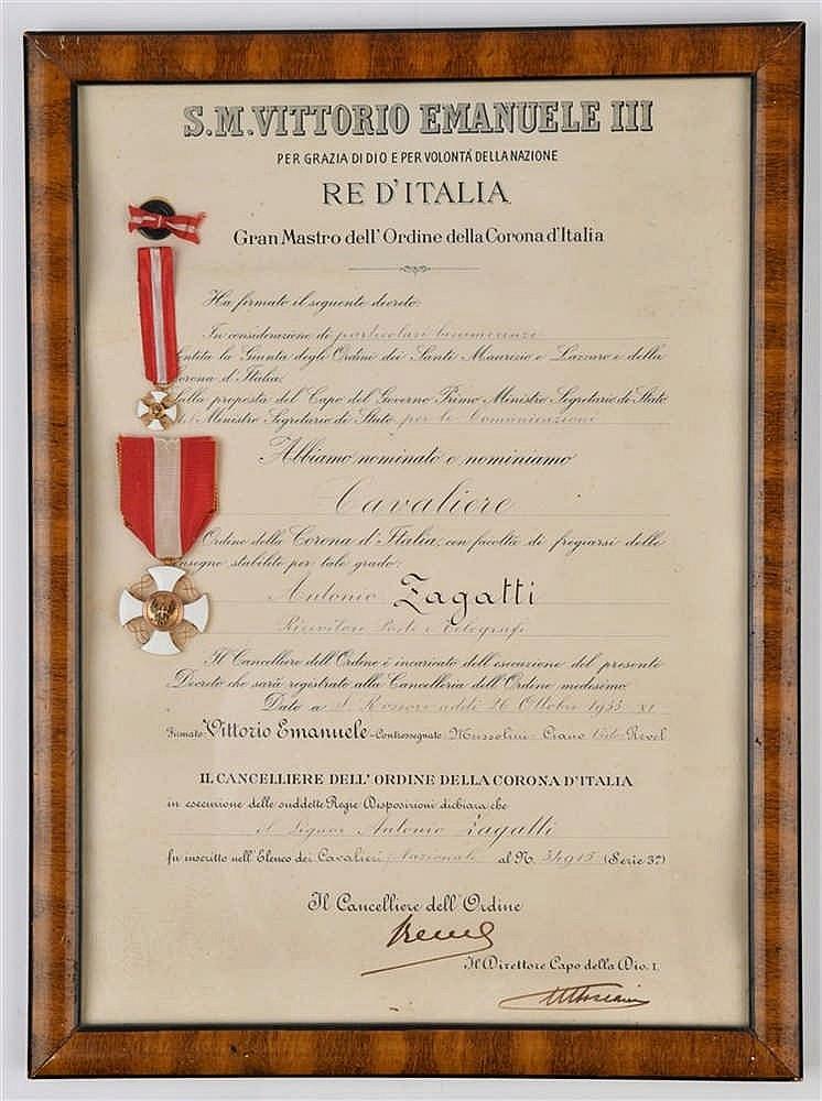 Ordre de la Couronne d'Italie. Diplôme attribué à «Antonio Zagatti»et da