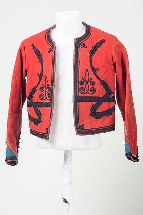 Veste Boléro de Spahis, en drap rouge « Tombô » de la veste, à la couleur d