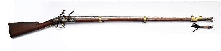 Superbe fusil d'officier à silex. Canon rond à pa