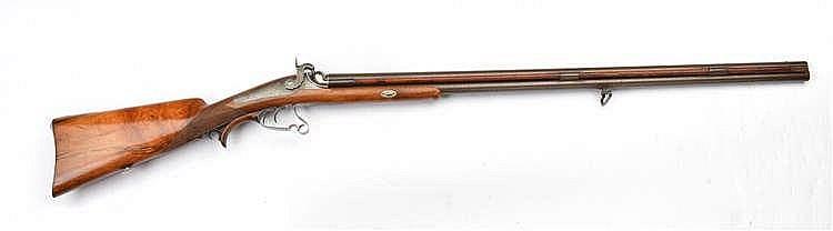 Fusil à percussions signé par Herzog. A deux canon