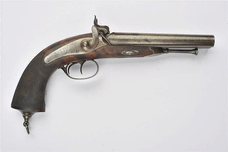 Pistolet de vénerie. Modèle à deux canons juxtapos
