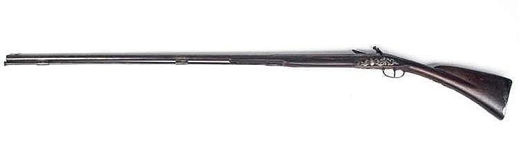 Fusil de chasse à silex. Canon à pans puis rond r