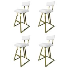 Set of Four Brass Barstools by Charles Hollis Jones