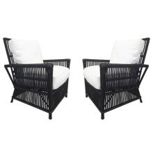 Wicker or Bamboo Patio Chairs Upholstered in White Canvas