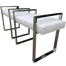 Pair of Charles Hollis Jones Benches in Polished Nickel