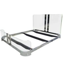 Queen-Size Bed in Lucite and Nickel by Charles Hollis Jones, Signed and Dated