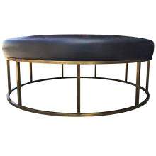 Stunning Custom Designed Round Ottoman with Solid Brass Base