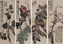 WU CHANGSHUO: SET OF FOUR COLOR AND INK 'FLOWERS' PAINTING