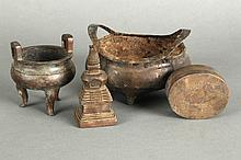 A GROUP OF FOUR BRONZE WARES