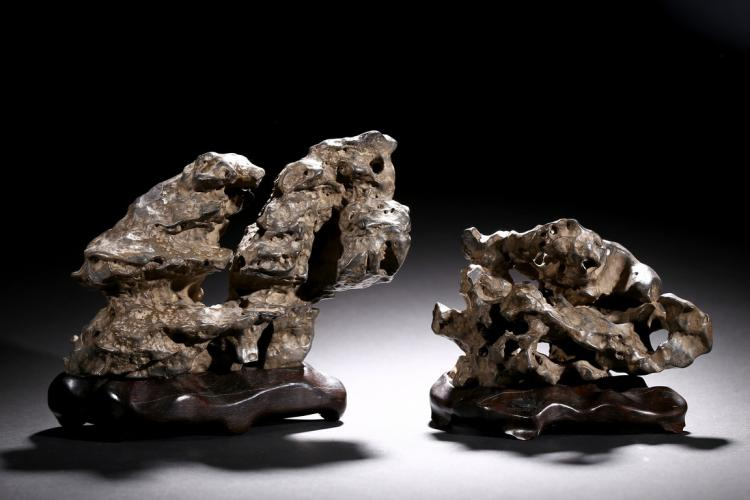 A SET OF TWO LINGBI SCHOLAR'S ROCKS