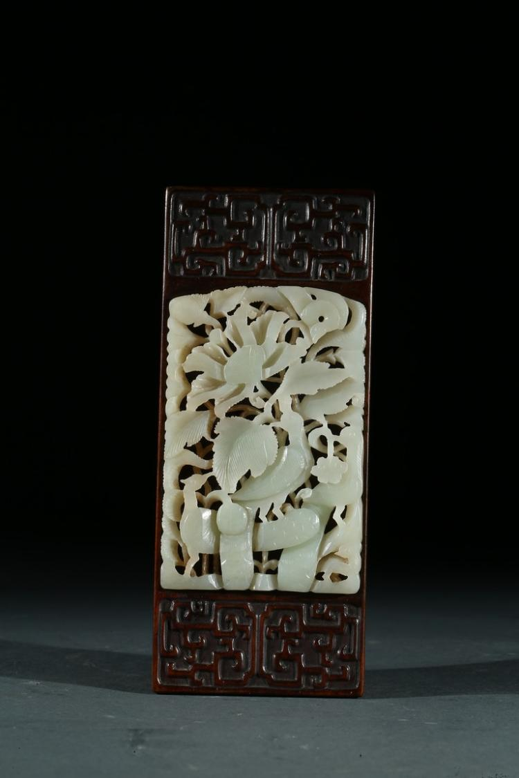 A WHITE JADE-INSET ROSEWOOD BOX AND COVER