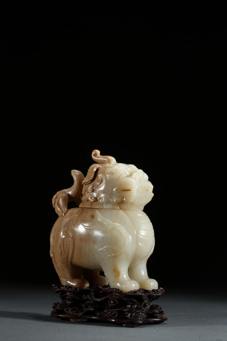 A JADE CARVED 'LUDUAN' BEAST CENSER