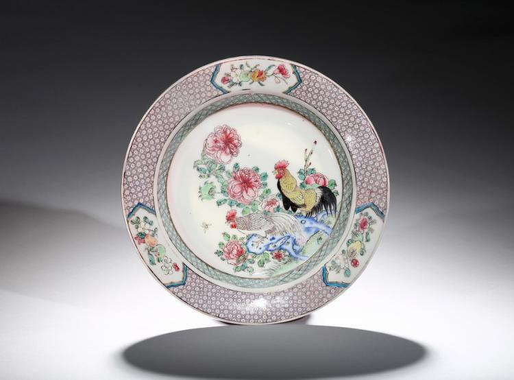 A FAMILLE ROSE RUBY-BACK EGGSHELL 'CHICKEN' DISH