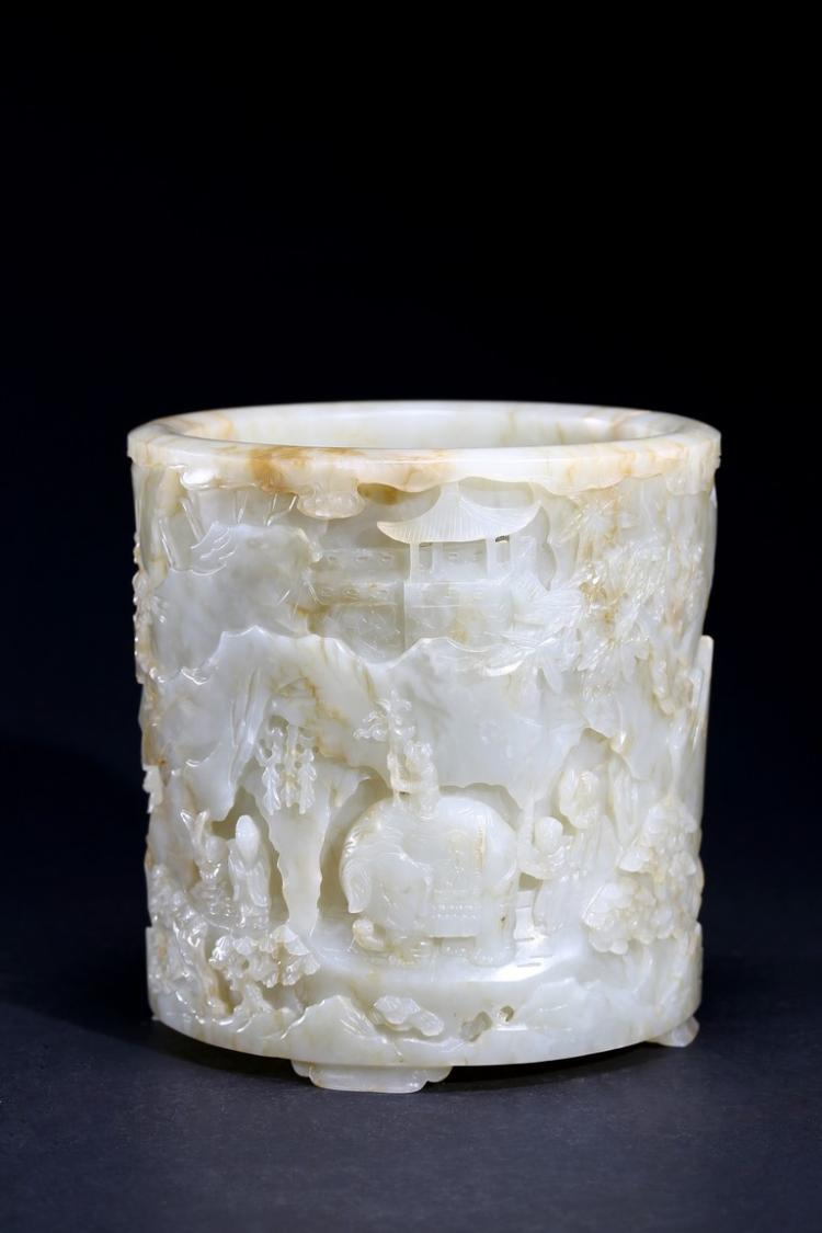 A VERY FINE WHITE JADE CARVED CYLINDRICAL BRUSHPOT