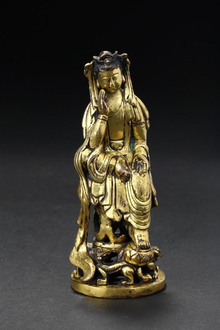 A GILT-BRONZE FIGURE OF PENSIVE MAITREYA