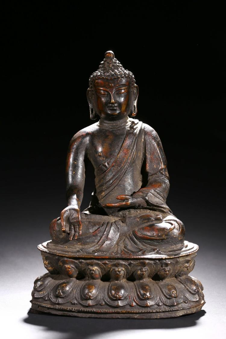 A BRONZE FIGURE OF BODHISATTVA WITH INSCRIPTION