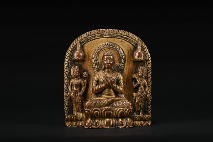 A GILT-BRONZE BODHISATTVA WITH TWO ATTENDANTS