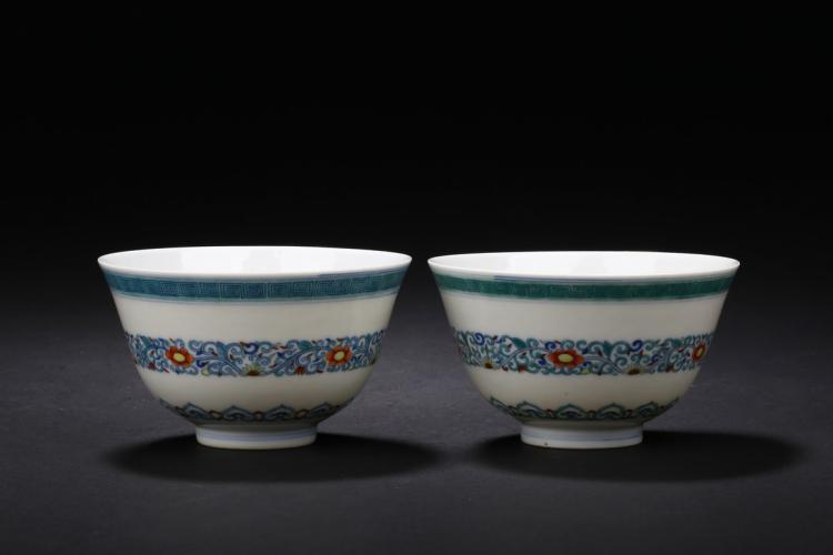 A PAIR OF DOUCAI 'FLORAL SCROLLING' WINE CUPS